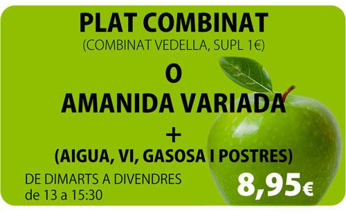 Plat combinat o amanida variada per 8,95€
