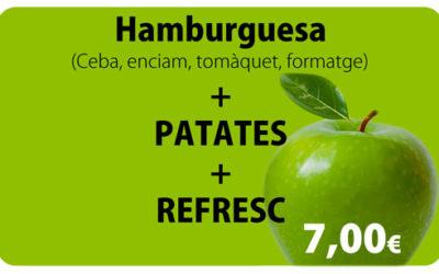 Hamburguesa amb patates i refresc per 7,00€