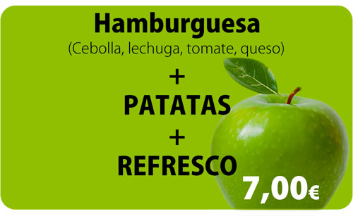 Hamburguesa + Patatas + Refresco por 7,00€