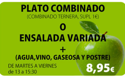 Plato Combinado o Ensalada Variada + Postre + Bebida por 8,95€
